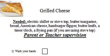 """Life Skills Cooking """"Grilled Cheese"""""""