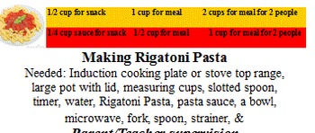 """Life Skills Cooking """"Rigatoni Pasta"""" on stove or induction cooking plate"""