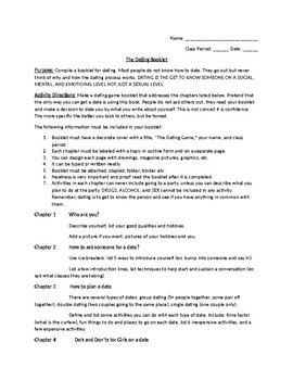 Life Skills: Dating Skills Booklet Project for HS Students