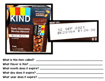 Life Skills - Expiration Dates - Special Education - Cooking - Reading - BUNDLE