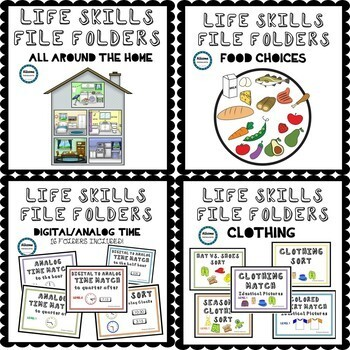 Life Skills File Folders BUNDLE ((SPED/AUTISM/ELEMENTARY/MIDDLE/HIGH)
