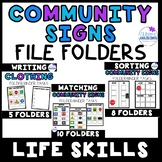 Life Skills File Folders- Community Signs