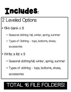 Life Skills File Folders- Clothing