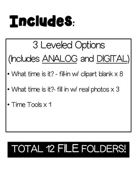 Life Skills File Folders- Time