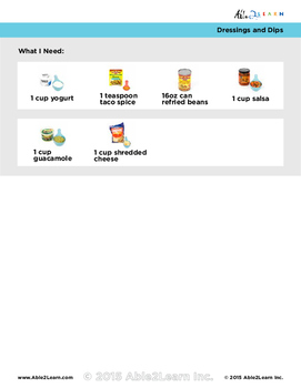 Follow Along Visual Recipes Simple Sentences & Comprehension Sheets #2