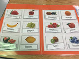 Life Skills: Fruit Vocabulary Match (word to picture) file folder game