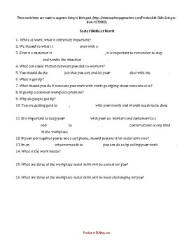 Life Skills - Going to Work, Add-on worksheets