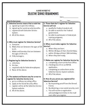 Life Skills - Government - Civics, SELECTIVE SERVICE REQUIREMENTS