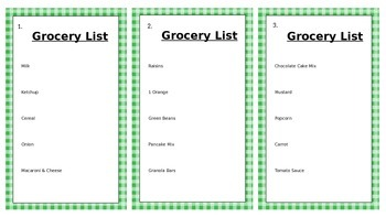 Life Skills - Grocery Store Activity Cards