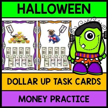 Life Skills Halloween Dollar Up Task Cards {Money} {Shopping} {Math}
