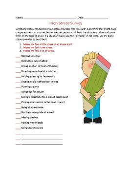 Life Skills: High Stress Survey worksheet, Dealing with Stress