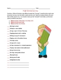 Life Skills: High Stress Survey worksheet, Dealing with Stress