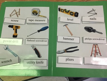 Life Skills: Home Repair/Tools Vocabulary (word to pic) File Folder Game