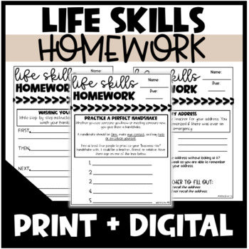 Life Skills Homework - Distance Learning