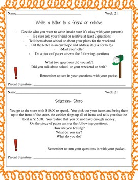 Life Skills Homework Packet Month 6