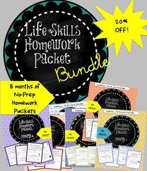 Life Skills Homework Packets Bundled