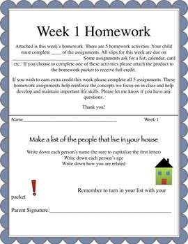 Life Skills Homework Packets Month 1