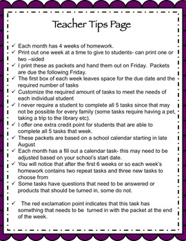 Life Skills Homework Packets Month 4