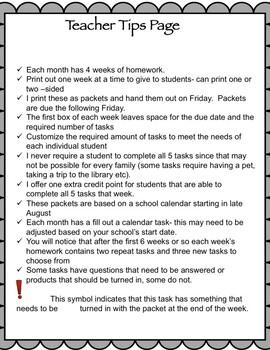 Life Skills Homework Packets Month 8