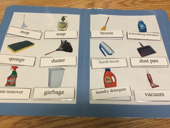 Life Skills: Housekeeping/Cleaning Vocab(word to pic match) File Folder Game