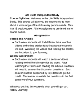 Life Skills Independent Study for High School Students