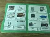 Life Skills: Kitchen Item Vocabulary (word to picture match) File Folder Game