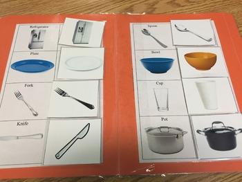 Life Skills- Kitchen Vocabulary Picture Match (generalizing) file folder