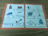 Life Skills: Laundry Room Vocabulary (word to picture match) File Folder Game