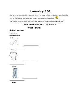 Life Skills Laundry - When to wash?
