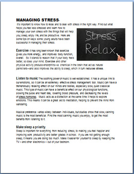 """Stress """"Managing Stress as a Young Adult""""-3 activities"""