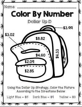 Life Skills Math and Money: Color By Number Dollar Up BACK TO SCHOOL Edition