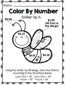 Life Skills - Color by Number - Dollar Up - Math- Money - Special Education