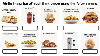 Life Skills Menu Math and Money Practice: Arby's