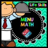 Life Skills Menu Math and Money Practice: Dominos