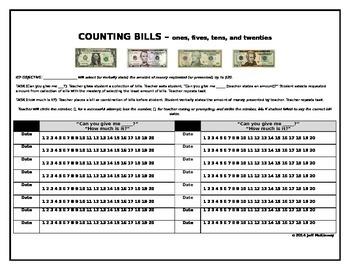 Life Skills Money Math IEP Data Collection on Counting Dollar Bills