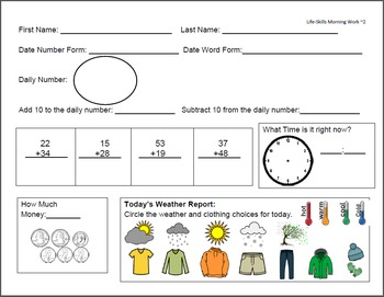 Life-Skills Morning Work 2nd Grade Level Freebie