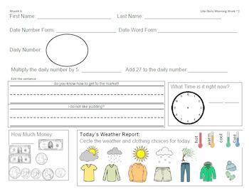 Life-Skills Morning Work Month 6 -  2nd Grade Level