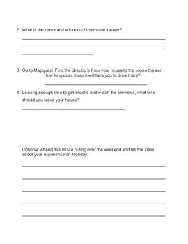 Life Skills Movie Planning Worksheet