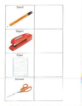 Life Skills- Office Supplies Picture Match (generalizing) file folder game