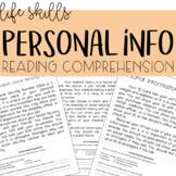 Personal Information Reading Comprehension  - Life Skills