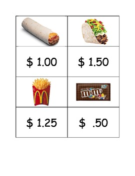 Special Education: Prices of Items w/ Fake Money - Match