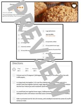 Life Skills Reading - Banana Crumb Muffin Recipe Comprehension. QR Code Edition!