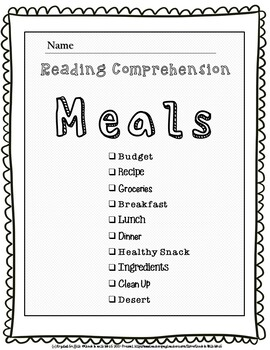 Life Skills Reading Comprehension Cooking