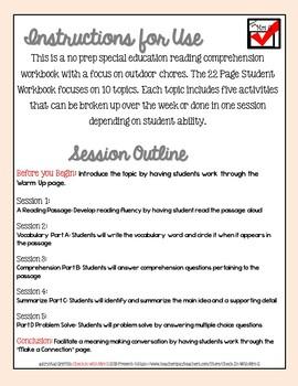 Life Skills Reading Comprehension Outdoor Chores