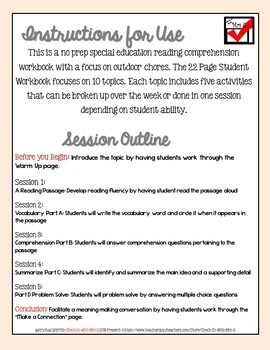 Life Skills Reading Comprehension Outdoor Chores