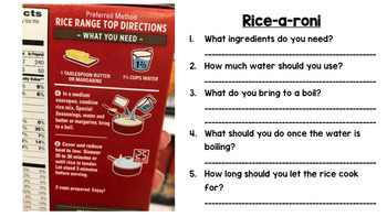 Life Skills - Reading - Cooking - Food Prep Directions - Special Ed - Unit Three