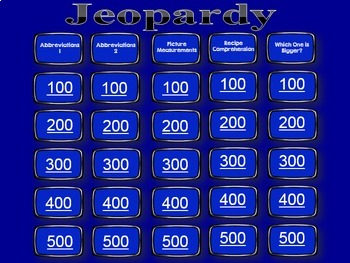 Life Skills Reading, Cooking and Measurement: Jeopardy Game