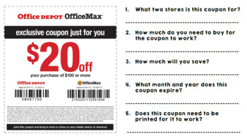Life Skills Reading: Coupons, Unit One