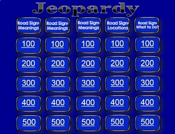 Life Skills Reading + Math: Road Signs and Driving JEOPARDY GAME!