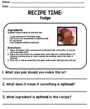 Life Skills Reading Recipe Comprehension - BUNDLE!!!!! Units 1, 2, and 3!!!